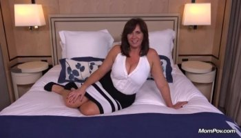 Brunette housewife MILF getting her tight cunt fucked by two BBC